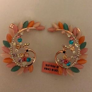 Rose Gold Tone and Crystal Peacock Ear Cuff NWT